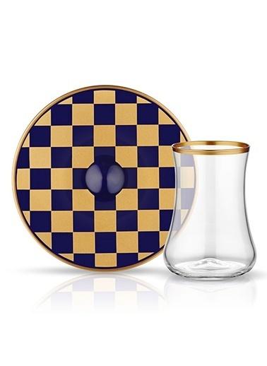 Dervish Çay Set 6'lı Dama Kobalt Altın-Koleksiyon